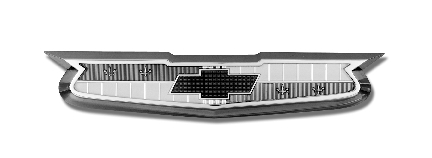 The Chevrolet bowtie as it appeared on the hood of the 1955 Chevrolet Bel Air, 210, 150 and Nomad models.