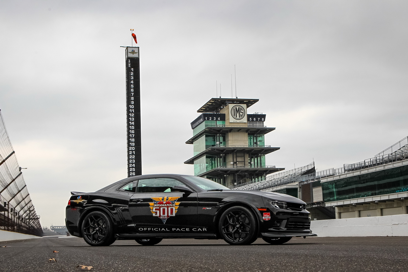 Chevrolet Racing introduces the 2014 Chevrolet Camaro Z/28 Indianapolis 500 pace car Tuesday, March 25, 2014. Three-time Indianapolis 500 winner Dario Franchitti will drive the Camaro Z/28 to pace the 98th running of the race on May 25. It??s the eighth time a Camaro has been the pace car, starting in 1967 ? and the 25th time a Chevrolet has paced the race. The 2014 Camaro Z/28 is the most track-capable model in its history, building on the legacy of the original SCCA Trans Am-series contender introduced in 1967. (Photo Courtesy of IMS Photography for Chevy Racing)